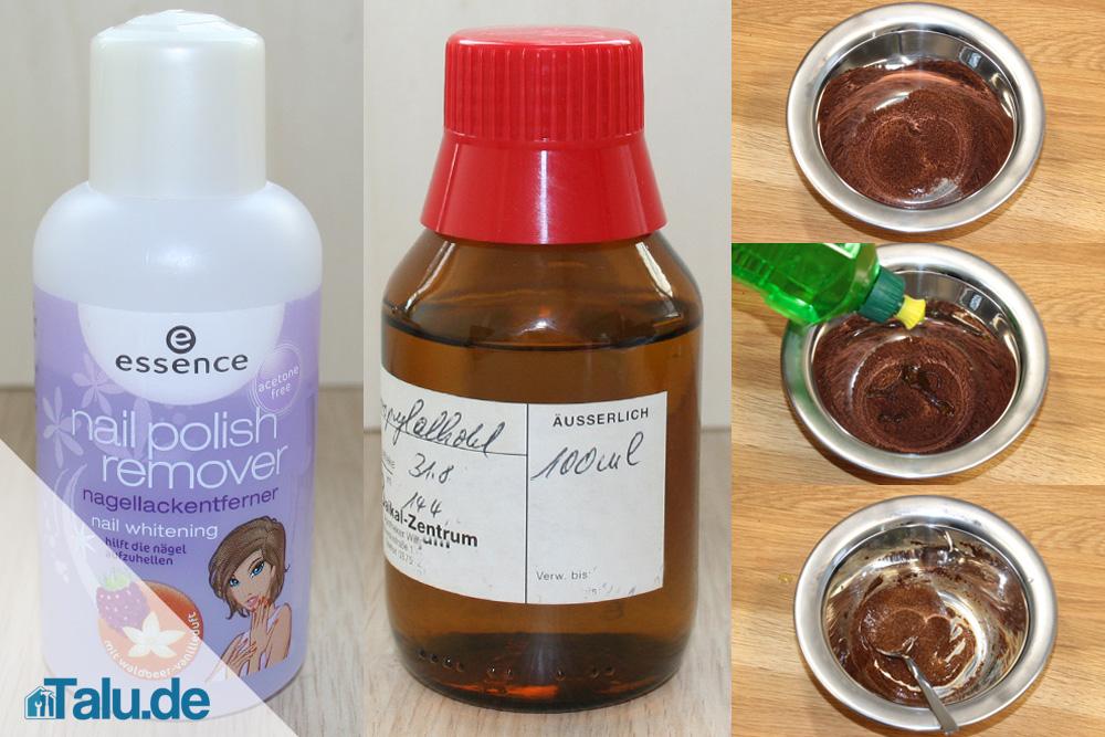 Nackellackentferner, Isopropan, Kaffee-Spülmittel