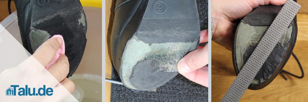 Schuhsohle kleben