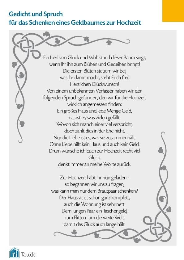 Geldbaum Zur Hochzeit Bastelanleitung Gedicht Talu De