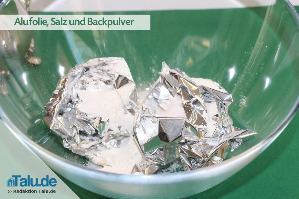 Silber reinigen backpulver alufolie