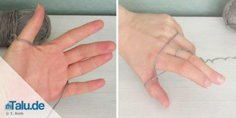 Wolle zum Stricken auf die Finger fädeln