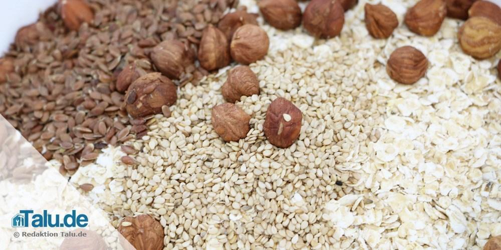 Müsliriegel mit Nüssen, Haferflocken und Samen selber machen