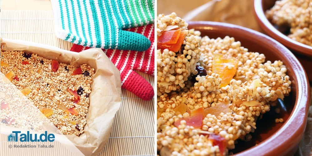 Fertige Müsliriegel mit Quinoa Pops