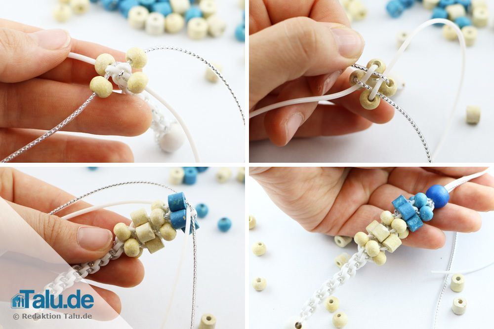 Scoubidou-Armband mit Perlen