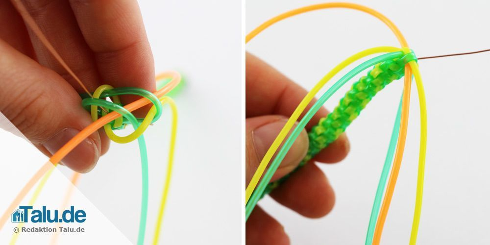 Scoubidou-Schlange flechten - der Kopf