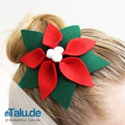 Weihnachtsstern als Haarschmuck