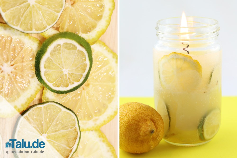 Sommerliche Zitronen-Duftkerze
