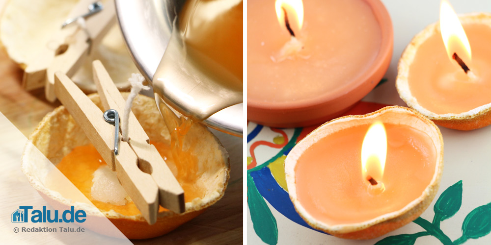 Kerze in Orangenschale