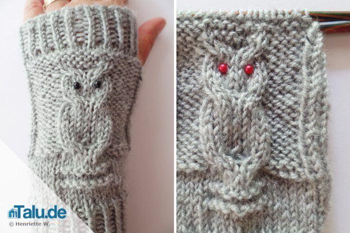 Armstulpen stricken – einfache DIY-Anleitung für Eulenmuster - Talu.de