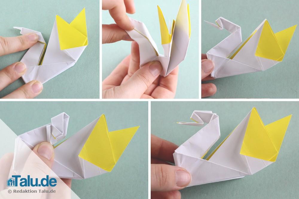 Origami Schwan falten