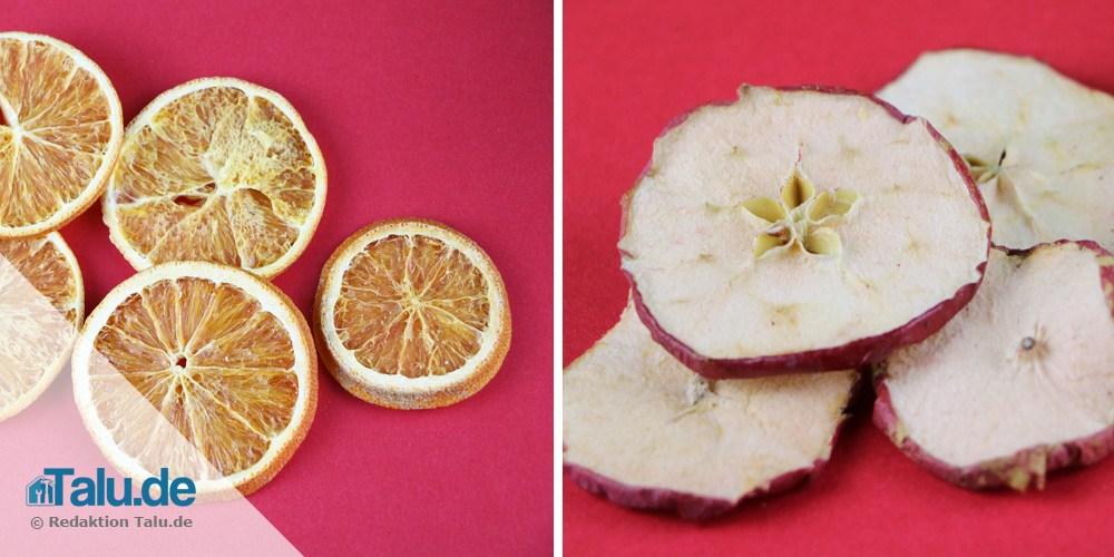 Orangen- und Apfelscheiben