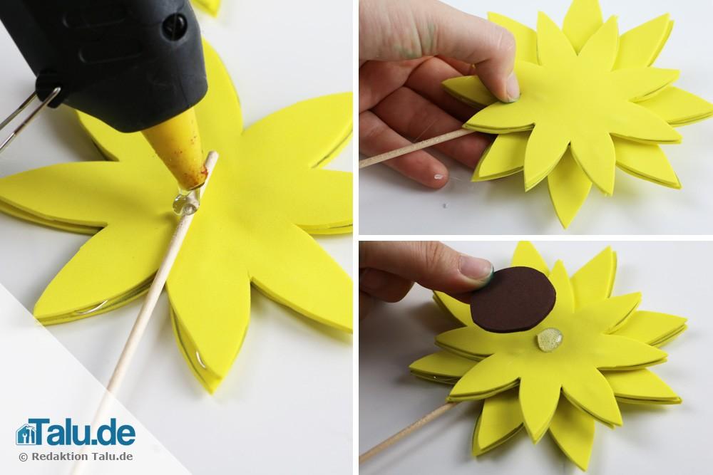 Sonnenblume aus Moosgummi