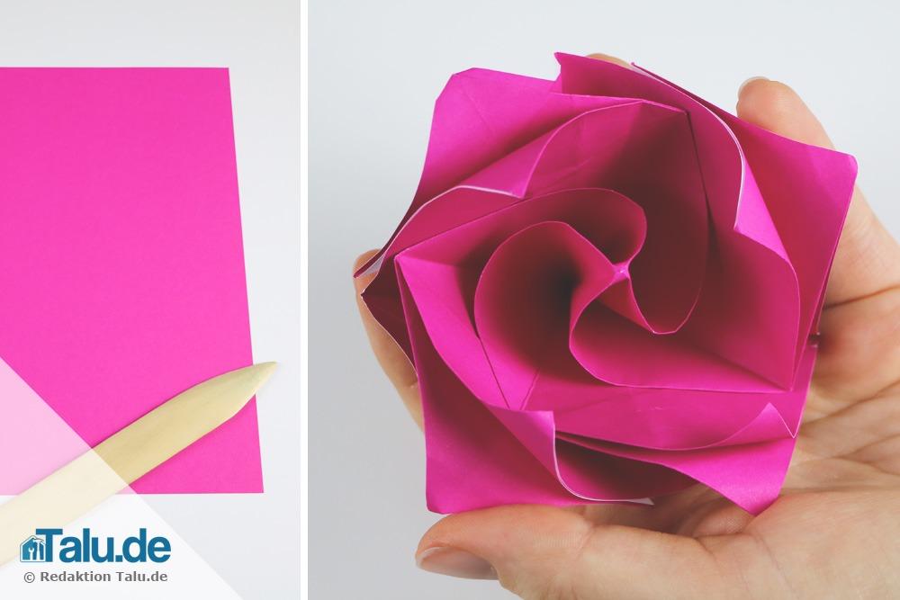 origami rose aus papier falten diy anleitung. Black Bedroom Furniture Sets. Home Design Ideas