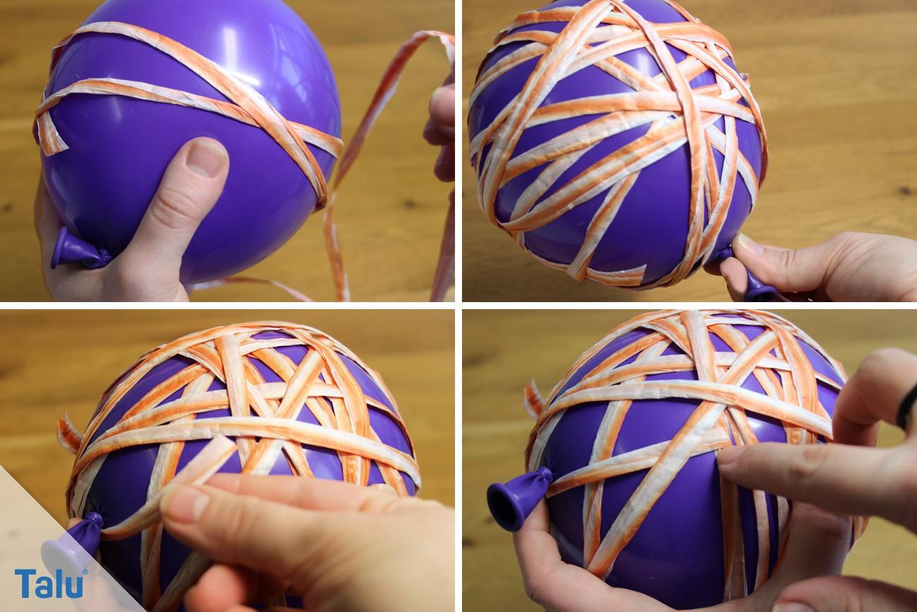 Luftballon mit Naturfaserband umwickeln