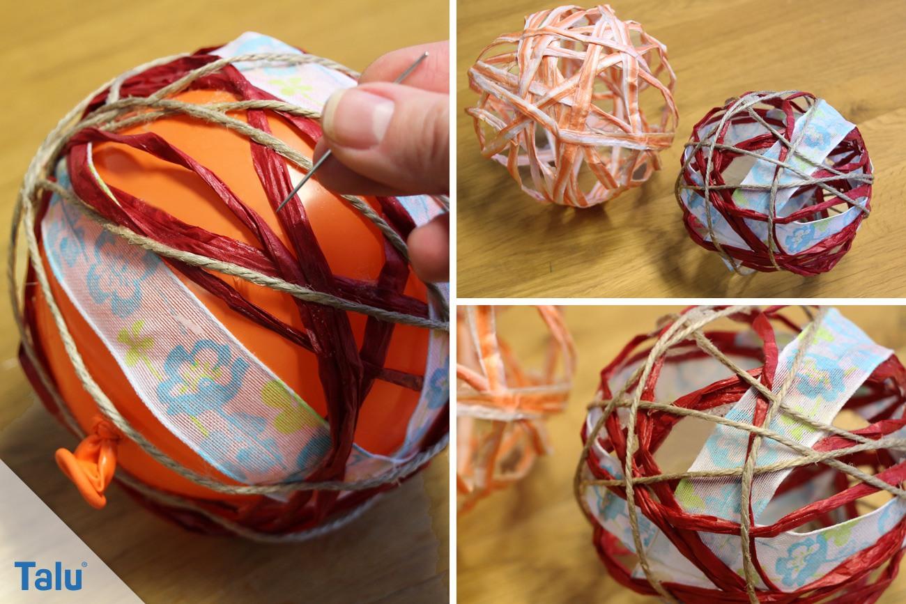 Luftballon nach Trocknungszeit mit Nadel zerstechen