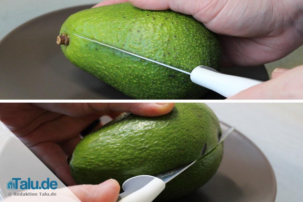 Avocado längs aufschneiden