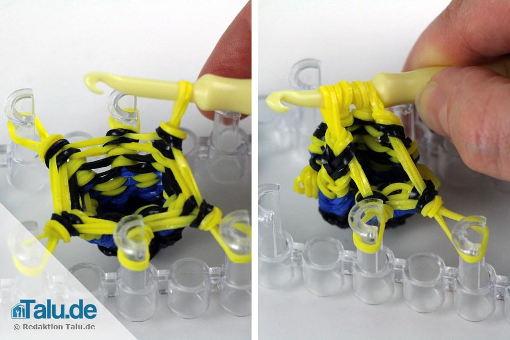 Gelbe Loombänder mit Haken-Nadel abheben
