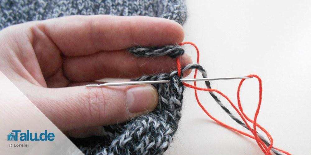 zwei Strickteile verbinden