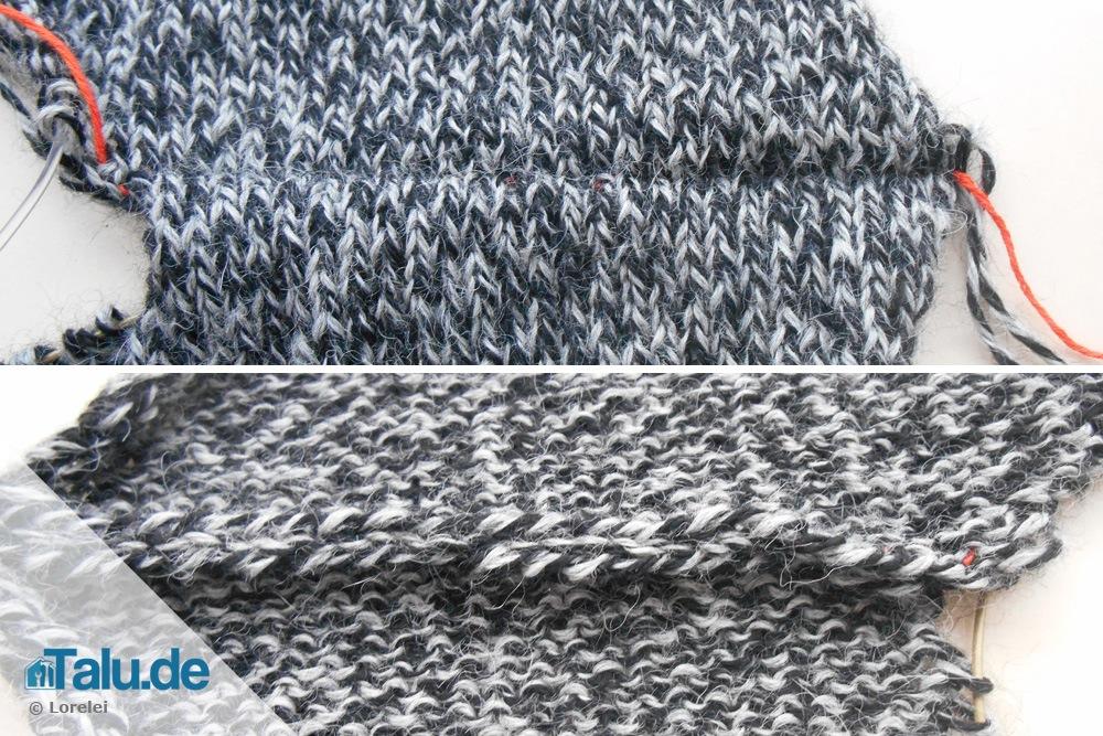 Zwei Strickteile mit Maschenstich verbinden