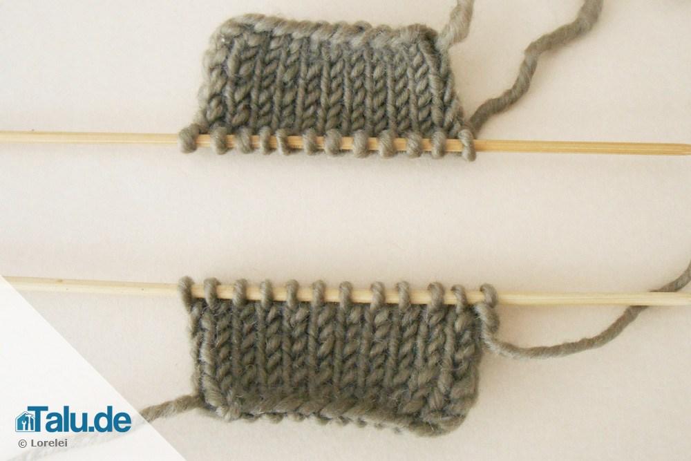 Maschenstich beim Sockenstricken