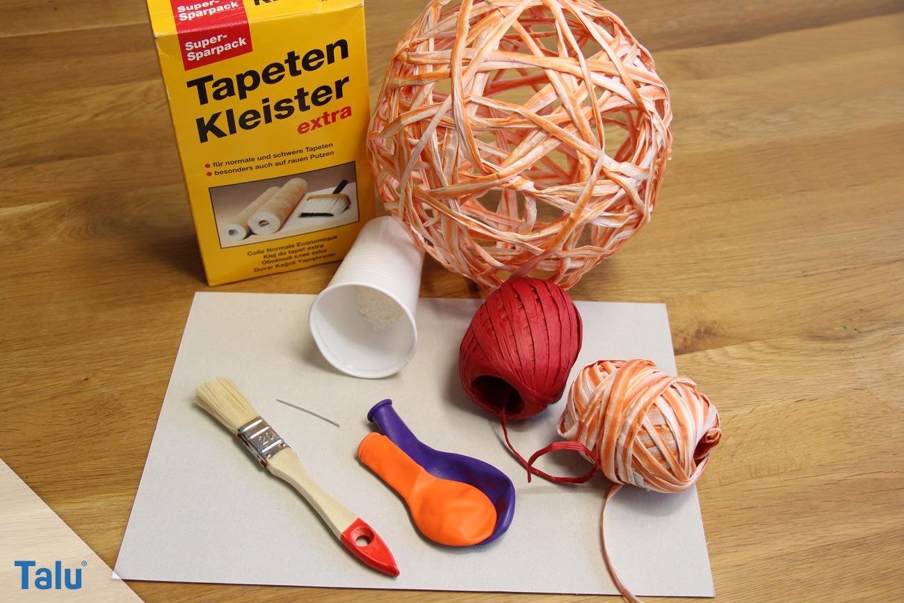 Benötigte Materialien für die Rattankugeln