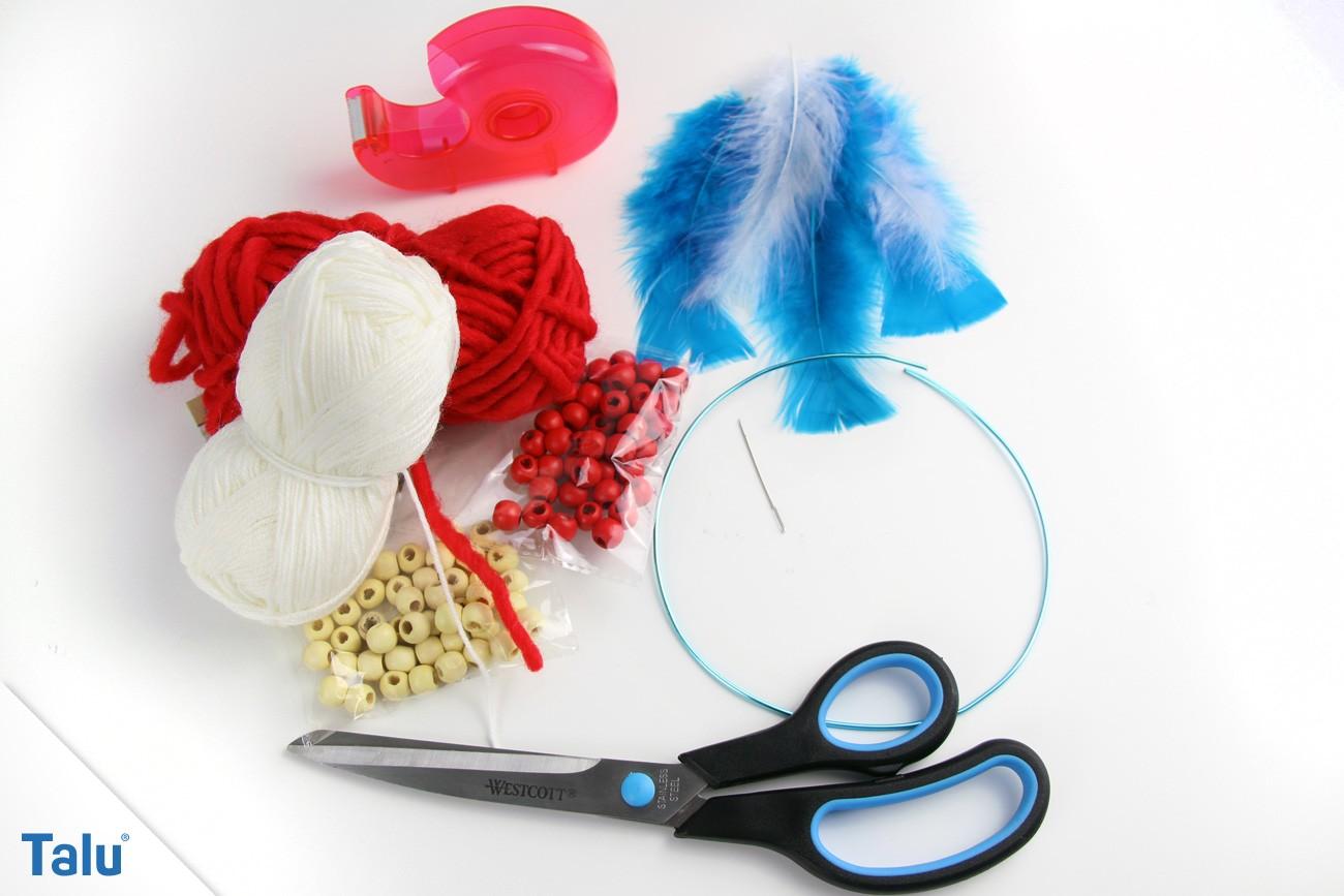 Benötigte Materialien für den Traumfänger