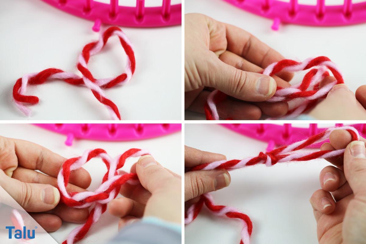Loop-Schal mit Strickring stricken - der Beginn