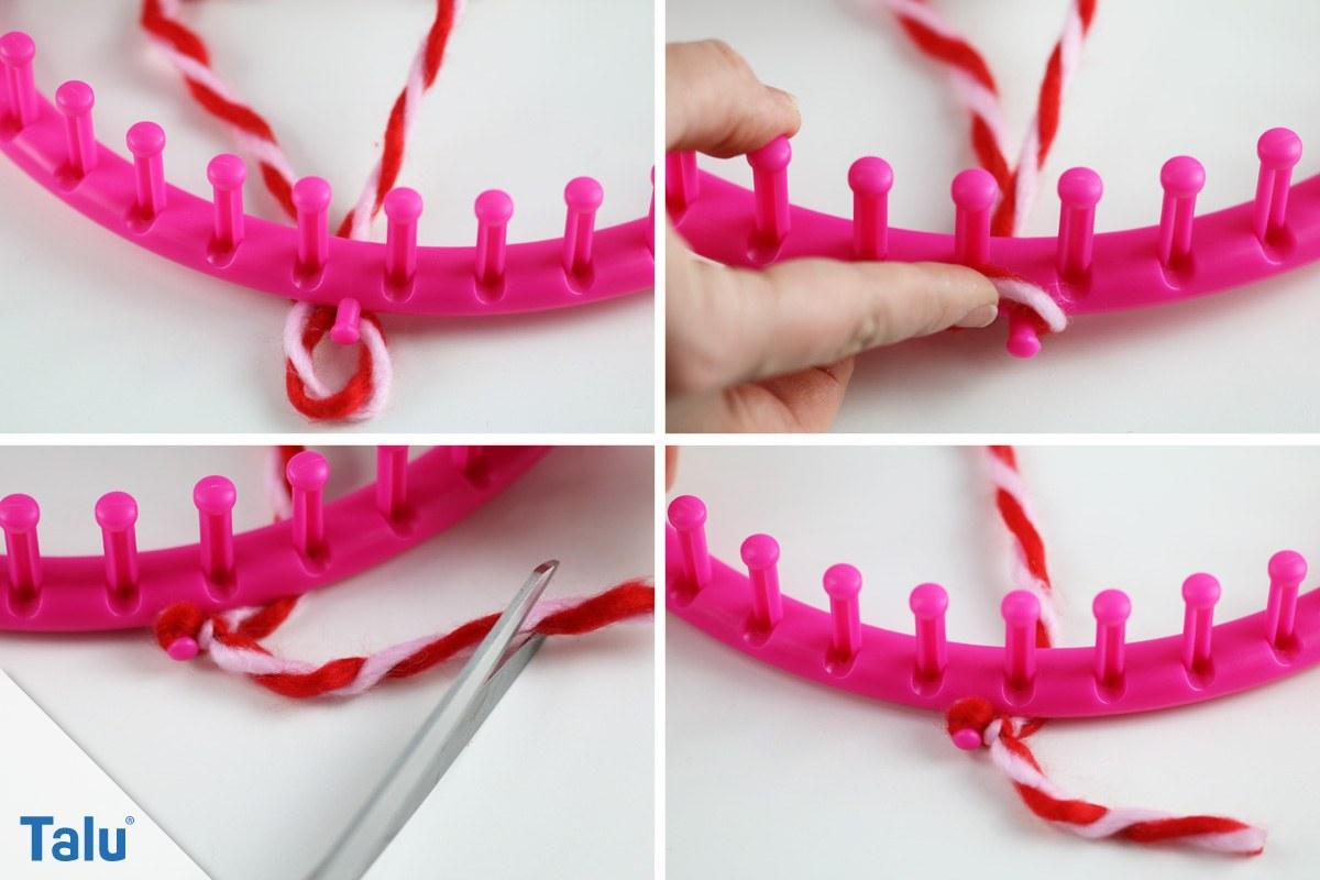 Loop-Schal stricken - Faden am Strickring befestigen