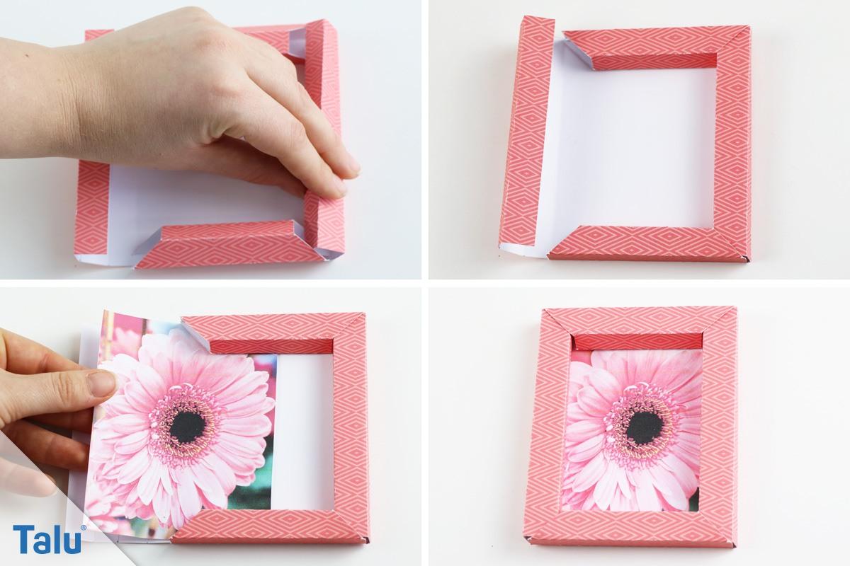 Bilderrahmen selber machen aus papier  3D-Bilderrahmen selber falten - Origami-Anleitung ohne Kleber - Talu.de