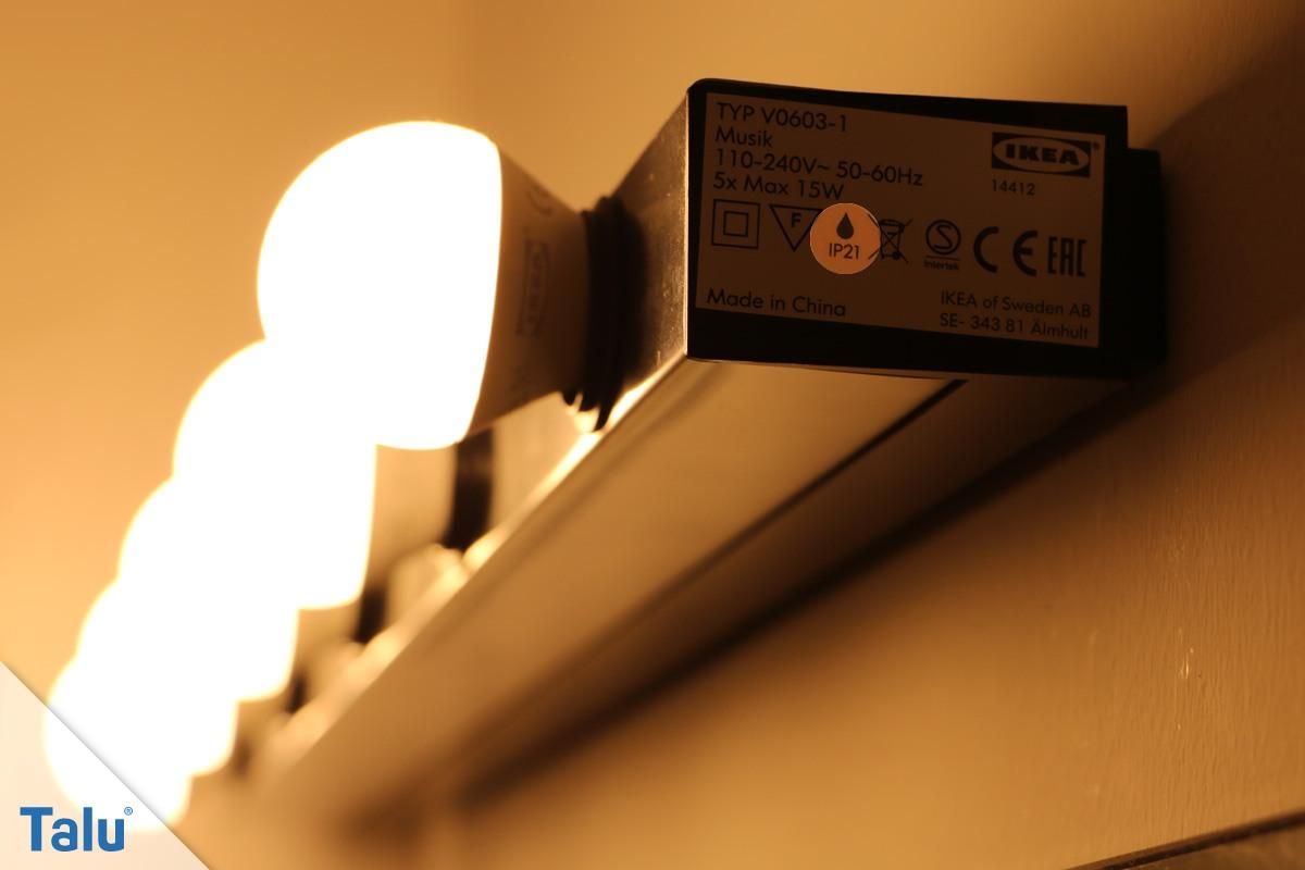 Schutzklasse einer Badlampe