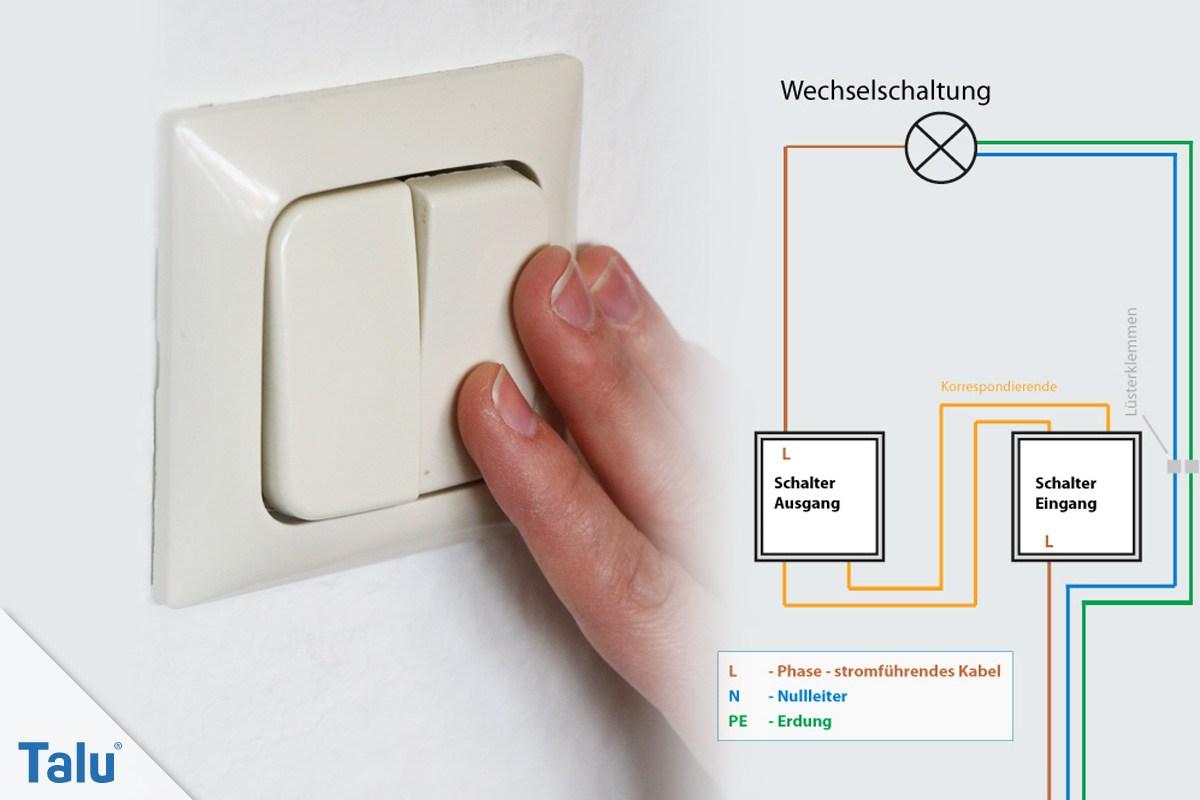 Wechselschalter anschließen - Anleitung zum Anklemmen - Talu.de