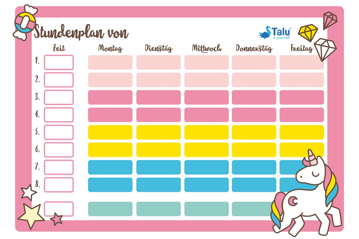 Stundenplan zum Ausdrucken - kostenlose PDF Vorlage - Talu.de