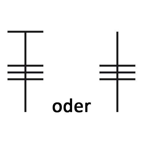 Symbol für dreifaches Stäbchen
