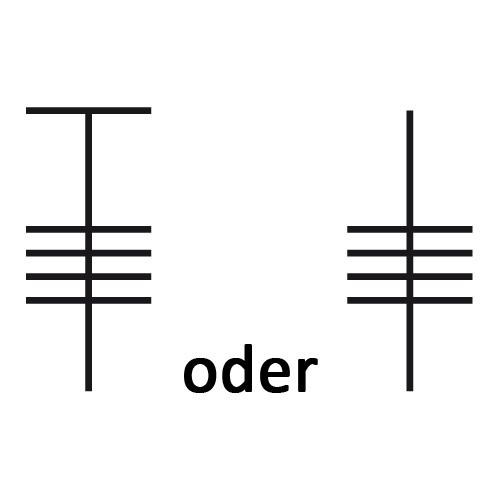 Symbol für vierfaches Stäbchen