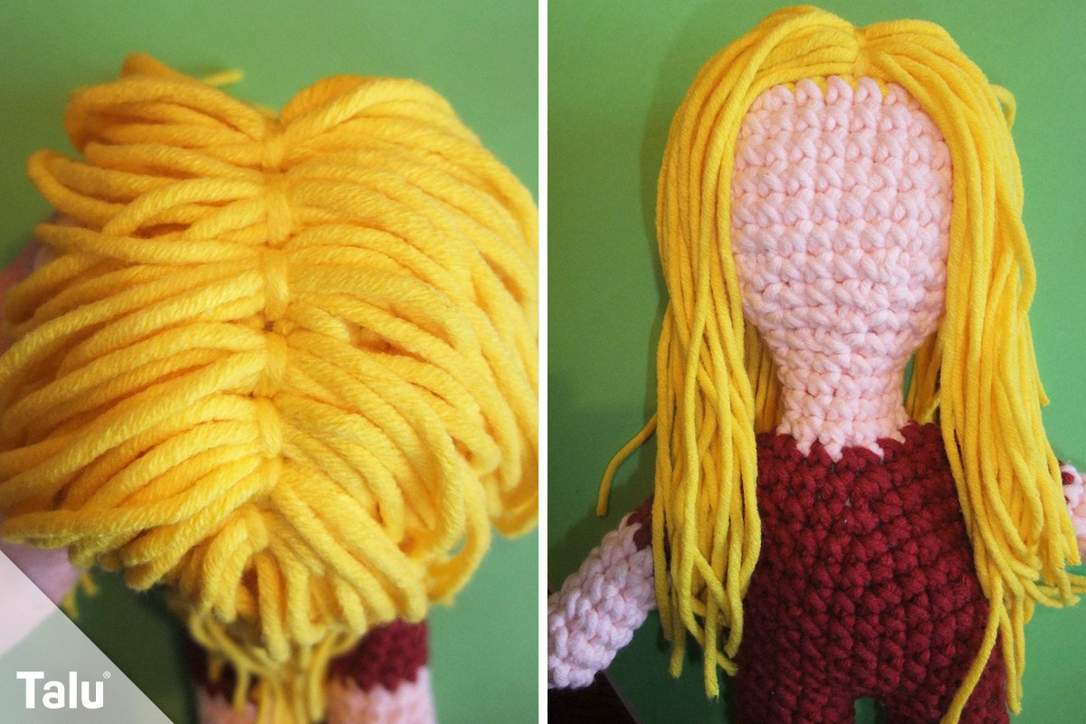 Häkelpuppe mit Haaren