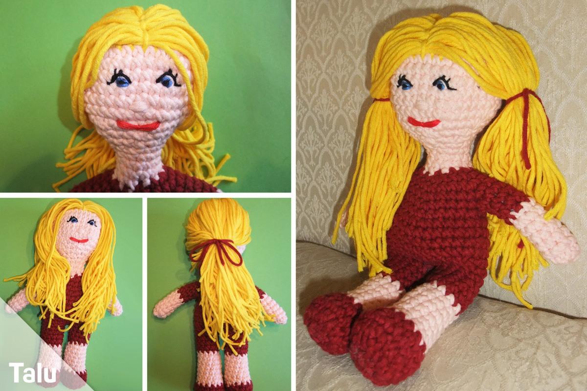 Puppe häkeln mit Haaren