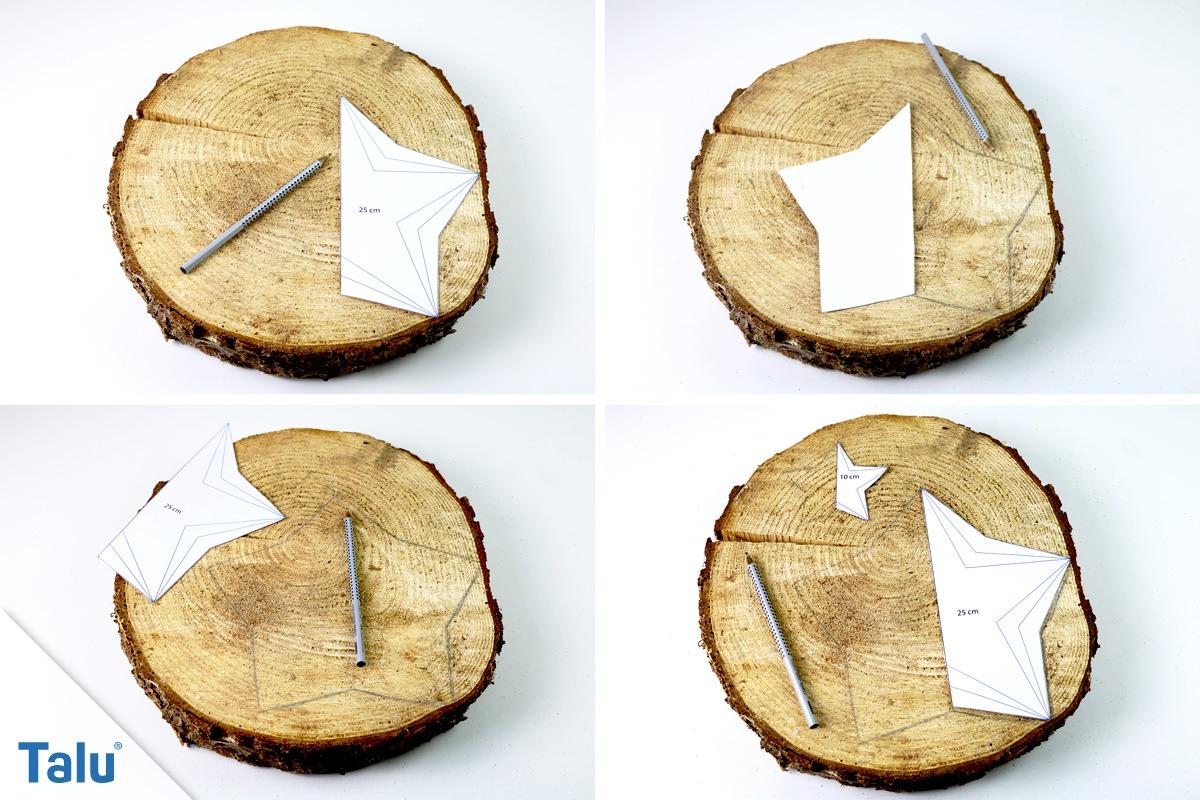 Holzstern anzeichnen