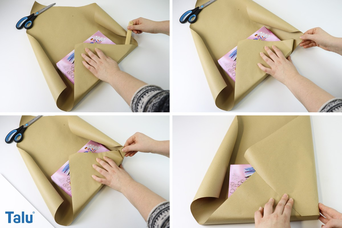 Weihnachtsgeschenk ohne Klebeband einpacken
