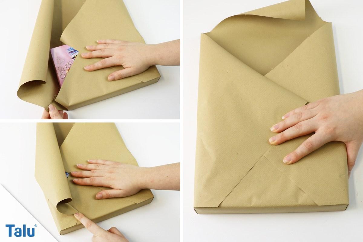 Geschenk ohne Klebeband verpacken