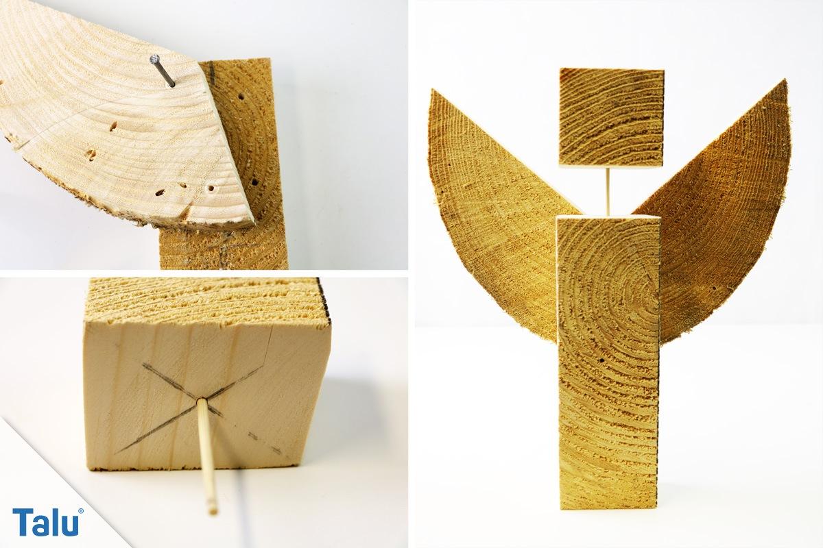 Engel aus Holz Scheibe gebaut