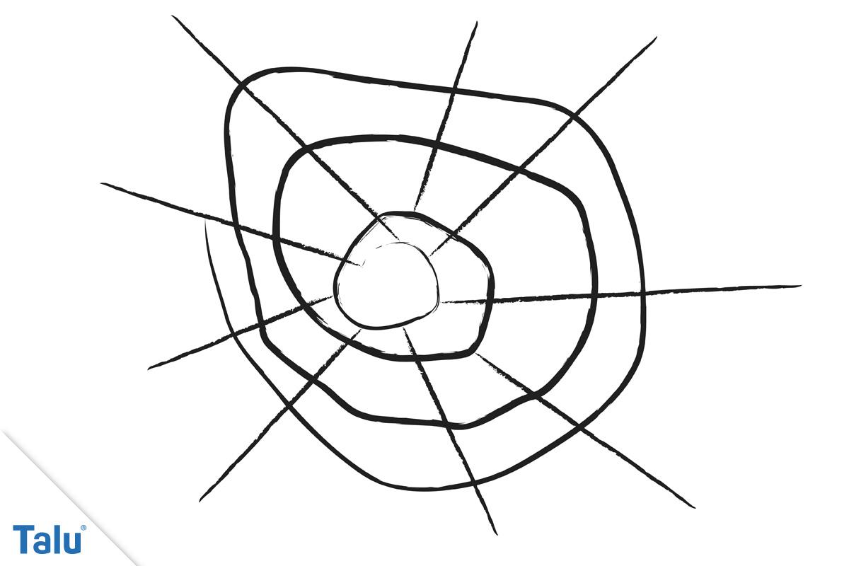 Trichter Spinnennetz malen