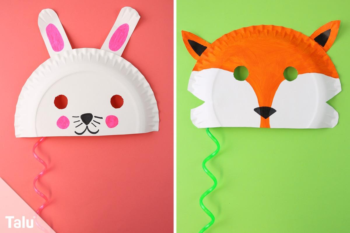 faschingsmasken basteln anleitung kindermasken aus pappteller. Black Bedroom Furniture Sets. Home Design Ideas