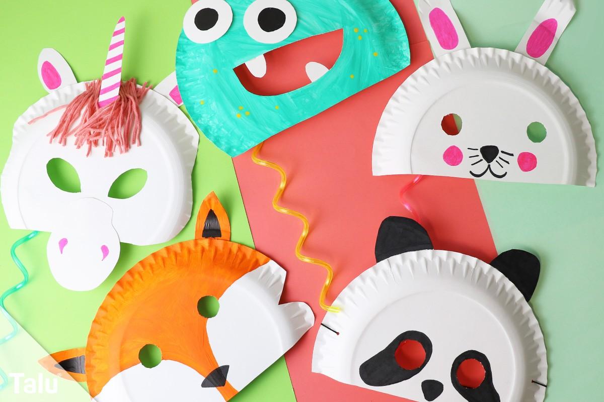Faschingsmasken basteln anleitung kindermasken aus pappteller - Fasching bastelideen ...