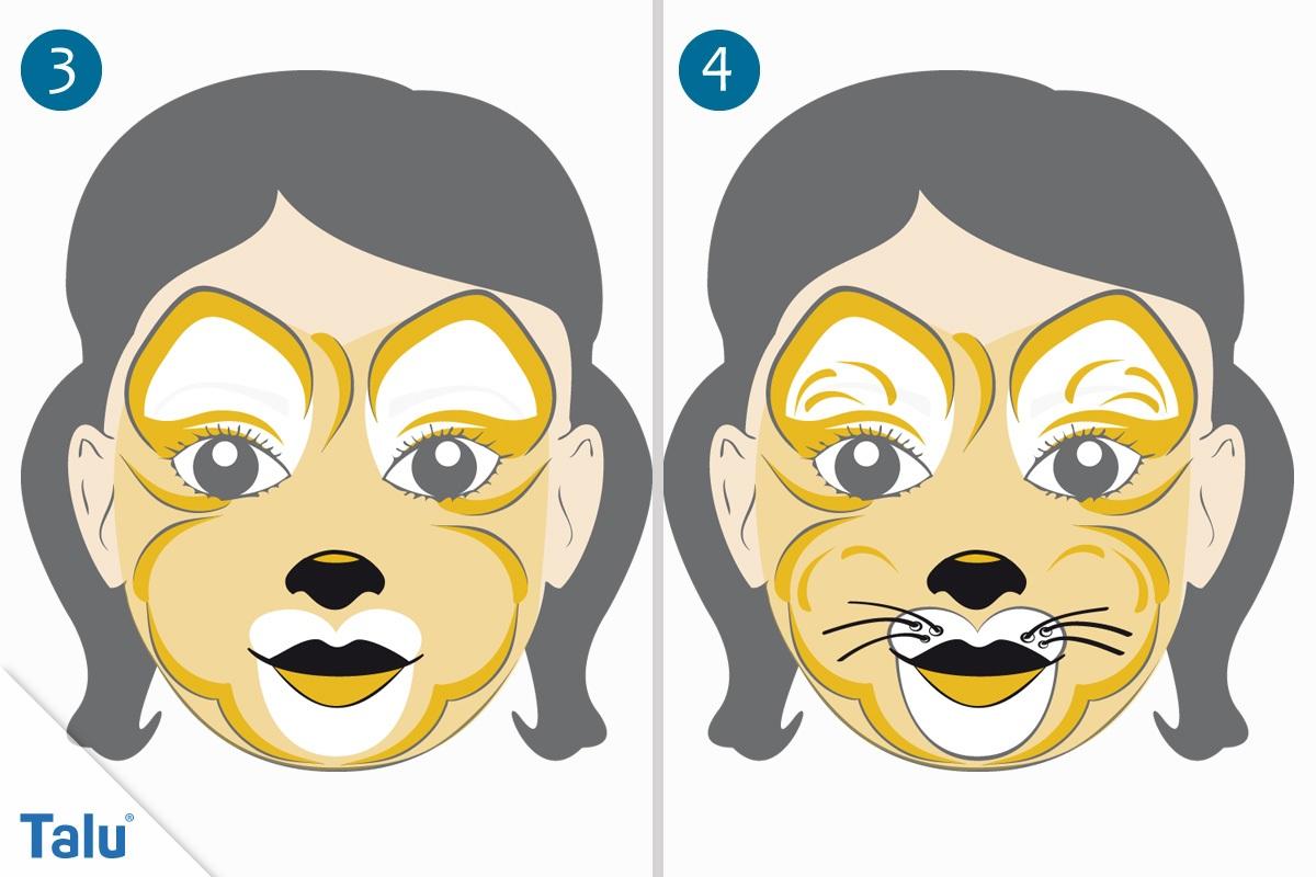Kinderschminken Löwin letzte Schritte