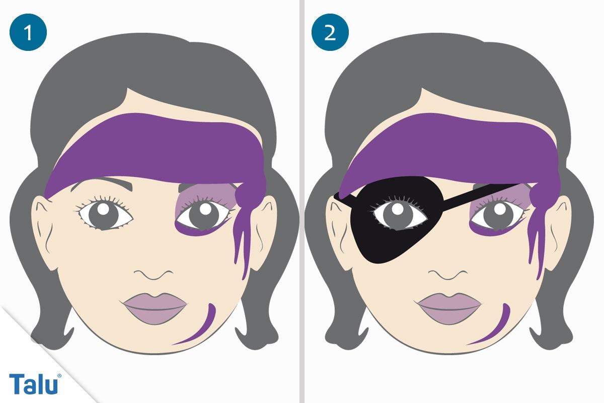 Kinderschminken Piratin erste Schritte