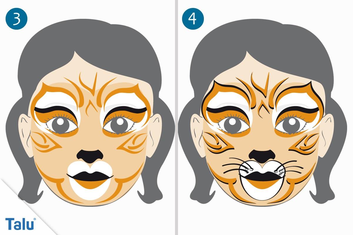 Kinderschminken Tigerin letzte Schritte