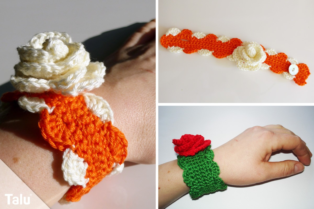 Blumen-Armband häkeln