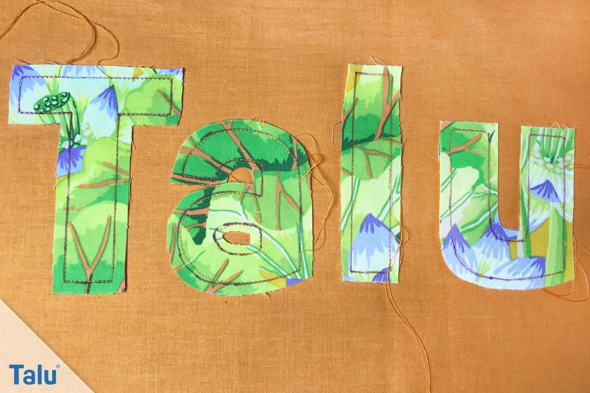 Buchstabenkette nähen, genähte Stoffbuchstaben