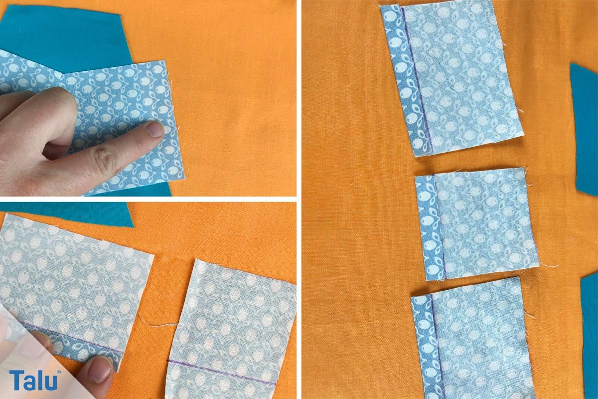 Buchstabenkissen nähen, Stoff in Streifen schneiden