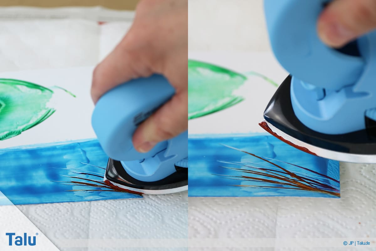 Enkaustik, Anleitung Wachs-Malerei, grasähnliche Linien mit Maleisen fertigen